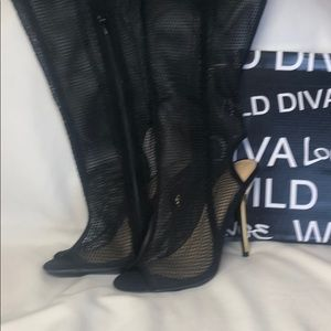 Black Net Knee High Heels